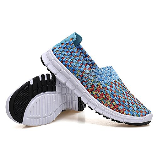 Walking On Women FZDX Fashion Slip 919 Shoes Shoes BLUE Handmade Lightweight Sneakers Woven Comfort n8dIqI