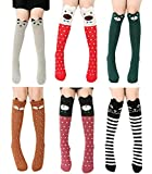 Girls Knee High Socks, Gellwhu 6/8 Pairs Animal Cotton Knit Over Calf Socks for Kids Teens