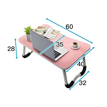 LYX1,Mesa portatil Escritorio del Ordenador portátil Cama Plegable Antideslizante Mesa pequeña Cama Escritorio Dormitorio Dormitorio Mesa (Color : Pink): ...