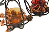 Autumn Pumpkin Metal & Glass Candle Holder 2-Piece Set