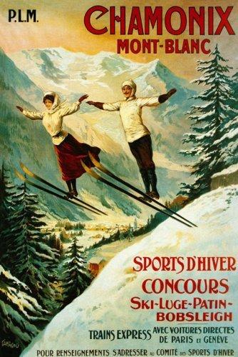 amazon com chamonix mont blanc winter sport contest couple ski
