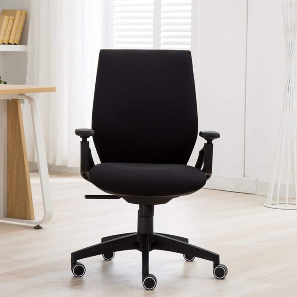 Barstolar Xiuyun kontorsstol spelstol svängbar stol, tyg sovrum arbetsrum datorstol bekväm student skrivbord svängbar stol ergonomisk stol, sovsal stol, (färg: svart) Svart
