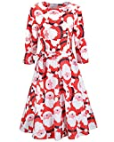 OUGES Women's 3 4 Sleeve Xmas Gifts Flared Christmas Party Dress(Red Santa,S)