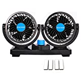 12V Fan Cooling Air Fan Powerful Dashboard Electric Car Fan Low Noise 360 Degree Rotatable with 2 Speed Adjustable for Vehicle Truck RV SUV or Boat