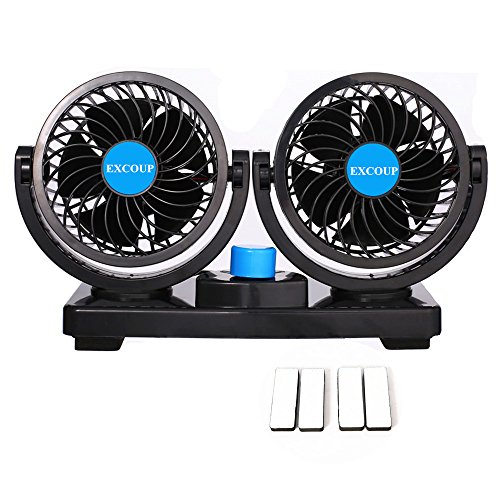 12V Fan Cooling Air Fan Powerful Dashboard Electric Car Fan Low Noise 360 Degree Rotatable with 2 Speed Adjustable for Vehicle Truck RV SUV or Boat by EXCOUP
