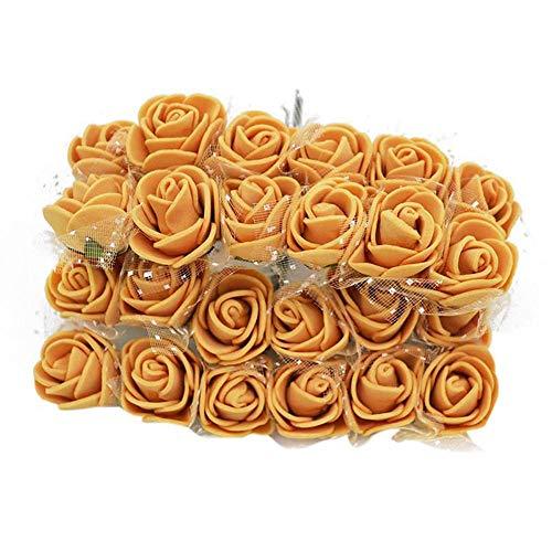 (Foam Rose 288pcs Artificial Flower Bouquet Multicolor Rose Flower DIY Wreath Gift Box Wedding Party Decoration Scrapbooking (Gold))