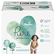 Pampers Pure Disposable Baby Diapers, Hypoallergenic and Fragrance Free Protection, Size 5, 44 Countm Super