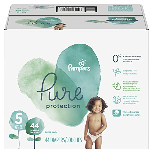 Pampers Pure Disposable Baby Diapers, Hypoallergenic and Fragrance Free Protection, Size 5, 44 Count