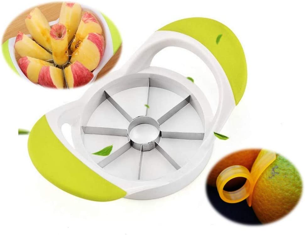 FLYINGSEA Apple Slicer,Apple Slicer Corer,304 Stainless Steel Apple Slicer + One Orange Peeler, Stainless Steel Blades With Lightweight Handle Make Cutting Very Easy,Cooking And Kitchen Gadget (Green)