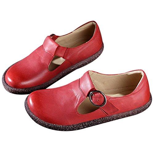 Vogstyle Damen Frühjahr/Sommer Lederband Schnallen Handgemachte Flache Schuhe Rot 39