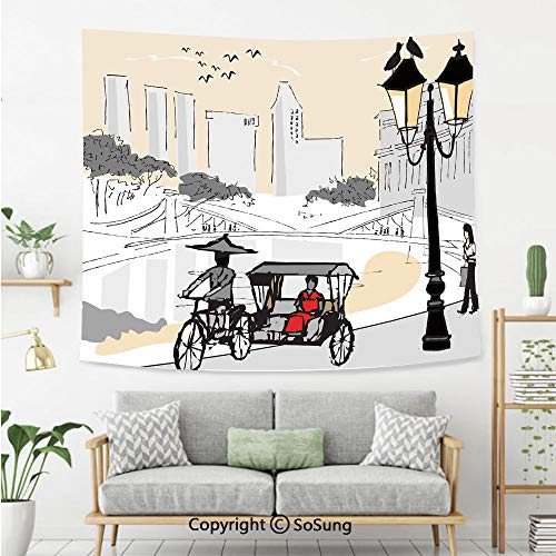 SoSung Modern Wall Tapestry,Sketch Singapore City Silhouette with Local People Asian Town Illustration,Bedroom Living Room Dorm Wall Hanging,92X70 Inches,Light Grey Cream Red