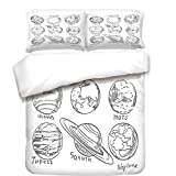 iPrint 3Pcs Duvet Cover Set,Doodle,Planets of Solar System Sun Mercury Earth Moon Mars Neptune Saturn Jupiter Science,Black White,Best Bedding Gifts for Family/Friends