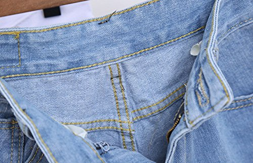 Guiran Jeans Corti Denim Shorts Donna Di Vita Pantaloncini Pantaloni Chiaro Alta Azzurro rCwztrUq