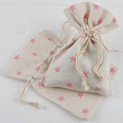 Bolsita algodón estrellas rosas - Pack 48 unidades.: Amazon.es: Hogar