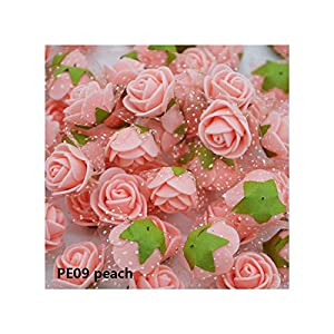 Luccaful 50/100 pcs 2cm Mini PE Foam Flower Fake Artificial Rose for DIY Handmade Wedding Party Decor Scrapbooking Crafts Gift Box 8Z,PE09 Peach,50pcs 22