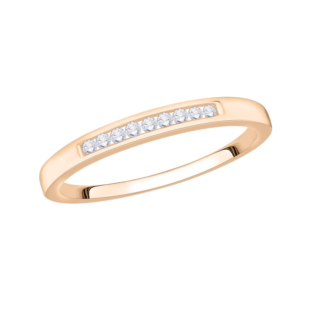 Diamond Wedding Band in 10K Pink Gold G-H,I2-I3 1//10 cttw, Size-5.75