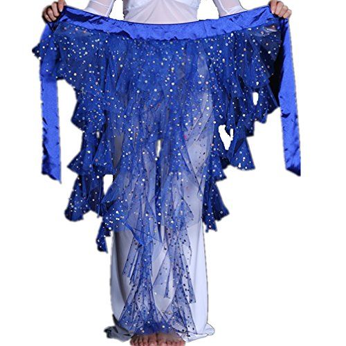 2019 Sexy Foxtails Triangle Chiffon Sequins Belly Dance Hip Scarf Net Skirt Pole Dance Costumes(Dark Blue) -