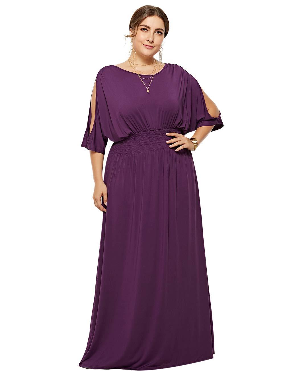 Lovelychica Women Plus Size Dress Sexy Short Sleeve Plain Defined Waist Maxi Dress Purple by Lovelychica Dress