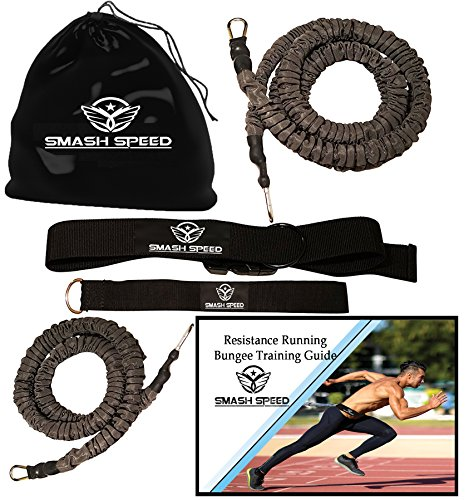 Smash Speed Set of 2 Strength 80 Lb Resistance Running Training Bungees Band (Waist) & Workout Guide- 4 & 8 Ft - 360° Agility, Fitness Fast- (2 Running Bungees)