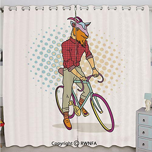 (Justin Harve window Hipster Goat on Bicycle Fashion Model Horns Hooves Teenager Boy Colorful Artwork Decorative Grommet Top Blackout Curtains Set of 2 Panels(100
