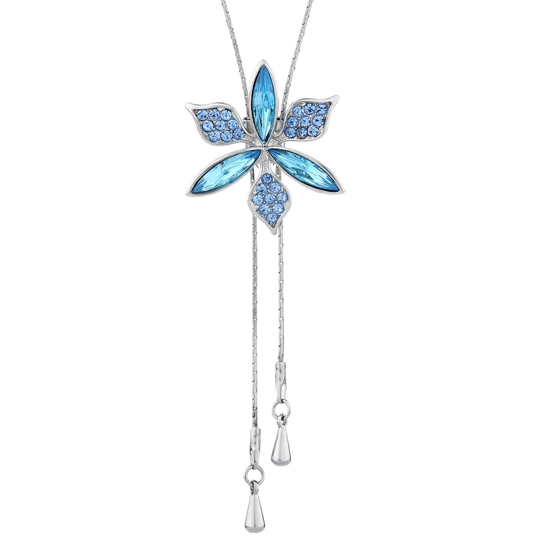 Neoglory Jewelry Fashion Style Flowers Y Long Adjustable Size Popular Rhinestone Necklace Pendant Womens 42.5inches 211167010702