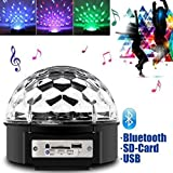 JUDYelc Crystal Ball Disco Bluetooth Stage Lamp with Remote, Sound Activated Strobe Effect 7-Pattern Rotating RGB LED Party Light Show for Wedding Shows Dance Floor Night Club DJ Flashing