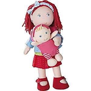"""HABA Soft Doll Pair - 12"""" Rubina with Red Hair & Freckles and Removable Blonde Baby in Carrier"""