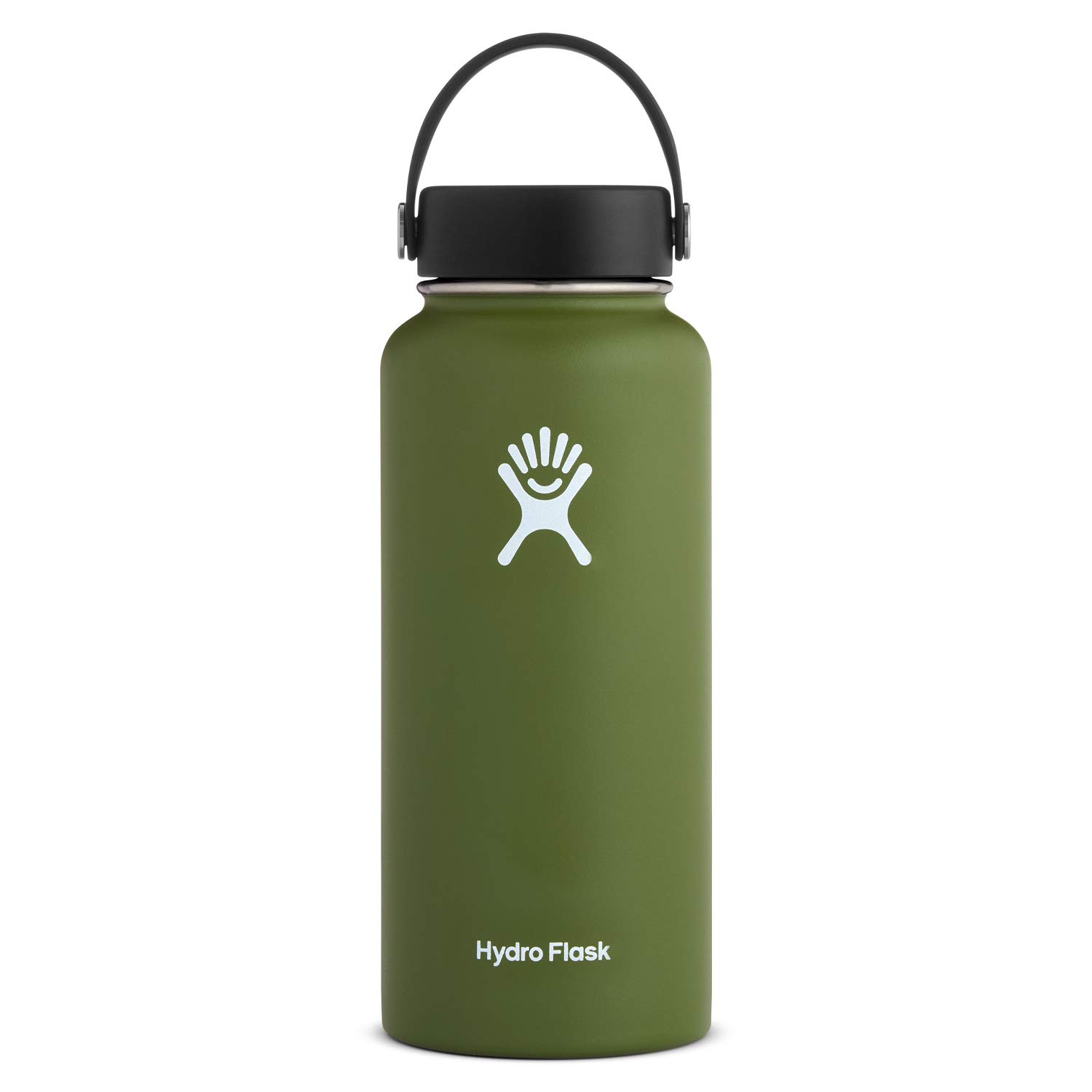 Hydro Flask Water Bottle - Stainless Steel & Vacuum Insulated - Wide Mouth with Leak Proof Flex Cap - 32 oz, Olive