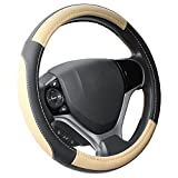 "Automotive : SEG Direct Black and Beige Microfiber Leather Steering Wheel Cover For Prius Civic 14"" - 14.25"""