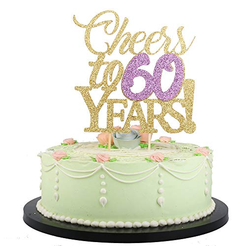 (LVEUD Gold Color Font Purple Numbers Cheers to 60 Years Happy Birthday Cake Topper -Wedding,Anniversary,Birthday Party Decorations)