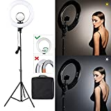 CRAPHY Photo Studio Camera Ring Light Kit,14'' Outer/9'' Inner LED Lighting with Light Stand 40W Dimmable Bi-color 3200k-5500k Hot Shoe, Cosmetic Mirror for Camera Smartphone Youtube Video Shooting