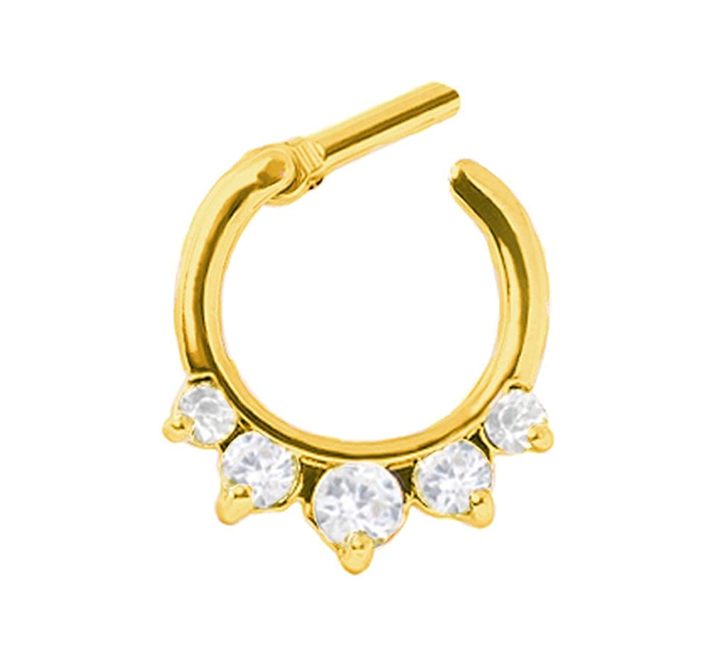Gold clear cz 5 prong set gem Septum Clicker Nose Ring Hoop Gold plated body Jewelry piercing bar 14g