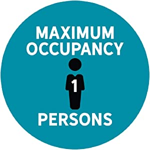 "Andaz Press Building Bathroom Office Social Distancing Maximum Occupancy 1 Persons Business Signs, 50 Labels, 10-Pack 8"" Round Labels + 40-Pack 2"" Circle Vinyl Sticker Decals"