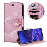 Huawei Mate 20 Lite Case,PU Leather Wallet Case for Huawei Mate 20 Lite,Moiky Luxury Pink 3D Butterfly Bling Rhinestone Embossed Love Heart Soft Leather Flip Magnetic Stand Shockproof Case Cover