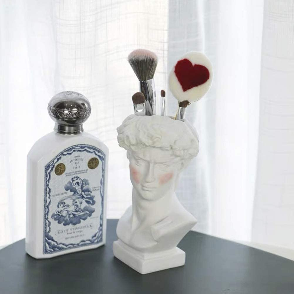 Lemonadeus Unique David Sculpture Decor Makeup Brush Holder Storage Cosmetic Organizer Make Up Brushes Display/Vase/Penholder