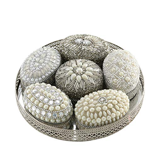 White Nights Jewelry Boxes and Tray, Set of 7, Hand Crafted, Beaded, Velvet Lined, Mirror Inset Round Metal Tray with Open Work Rim, 7 3/4 Inches Diameter