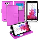 Orzly® - LG G3-S (G3 MINI) - Multi-Function Wallet Stand Case - PURPLE Wallet Style Phone Case with Integrated Stand - Designed by ORZLY® exclusively for LG G3 S (SMALL VERSION of LG G3 SmartPhone - ALIAS: LG G3 MINI / G3-S / etc.- 2014 Release) - Fits Model Numbers: LG D722 / D725 / D728 / D722K / D724 / etc.