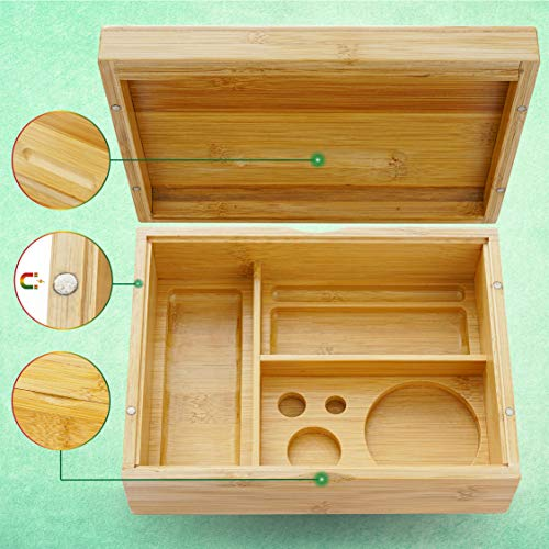 "VUTADA Stash Box Large with Rolling Tray – Handmade Decorative Stash Box – 9"" x 6.5"" x 3"" Storage Box – Premium Quality Dovetail Design Discrete Wood Stash Boxes (Large)"