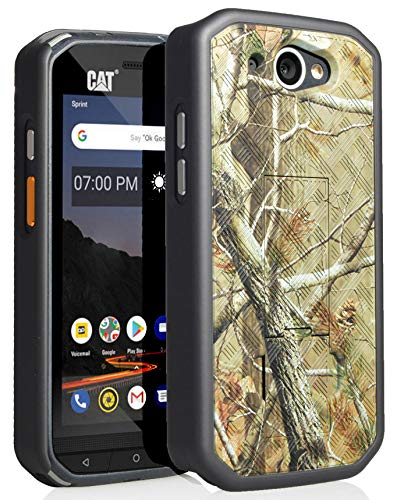CAT S48c Case, Nakedcellphone [Outdoor Camouflage] Tree Leaf Real Woods  Camo Slim Ribbed Rubberized Hard Shell Cover [with Kickstand] for  Caterpillar