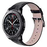 V_moro Gear S3 Classic/Frontier Bands, 22MM Genuine Leather Crocodile Pattern Replacement Band Classy Strap for Samsung Gear S3 Classic/S3 Frontier Smartwatch 7.1''-9.4'' Large Black