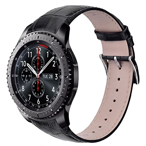 V-Moro Black Band Compatible with Galaxy Watch 46mm/Gear S3 Classic/Frontier Bands 22MM Genuine Leather Crocodile Pattern Replacement for Gear S3 Smart Watch Black