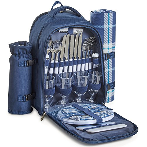 VonShef 4 Person Outdoor Picnic Backpack Bag Set with Insulated Cooler Compartment - Includes Picnic Blanket, Detachable Bottle Wine Holder, Flatware and Plates – Navy Tartan (Set Bag Picnic)