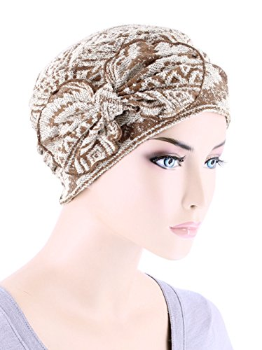 Chemo Summer Hat Ribbed Flower Bow Cloche Beanie Cancer Cap Burnout Fabric Tan Navajo ()