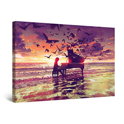 STARTONIGHT Canvas Wall Art Abstract - Fantasy Piano on The Beach Painting - Artwork Print for Bedroom 24