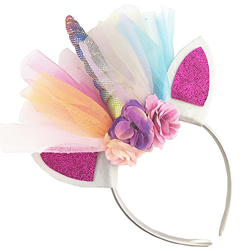 Unicorn Headband Horn Flowers Ears Headbands Rainbow Color Lace Hair Hoop Girls Kids Party Decoration Headdress Cosplay Costume Headwear Halloween Makeup Spiral Crown Handmade Headpiece -