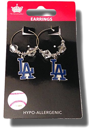 MLB Licensed Clear Bead Hoop Dangle Earrings (Los Angeles Dodgers)