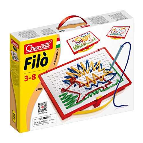 (Quercetti Filo Play Set - A Novel Lacing Tool with 18 Pattern Templates to Create Art with String- for Ages 4 and Up (Made in Italy))
