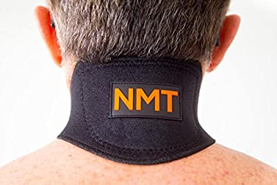 NMT Neck Brace ~ Pain Relief, Headaches ~ Natural Physical Therapy ~ New Black Healing Wrap for Men and Women ~ Tourmaline Remedy ~ Flexible Cervical Collar