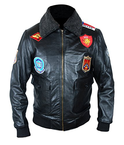[F&H Men's 7 Patch Genuine Leather Tom Cruise Pete Maverick Top Gun Bomber Jacket L Black] (Tom Cruise Top Gun Costumes)