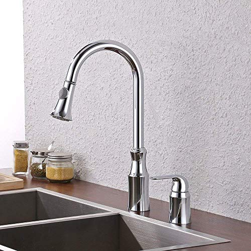 (KES BRASS Pulldown Kitchen Faucet Single Handle 2 Hole Modern Commercial Pullout Sink Faucet Swivel High Arc Gooseneck Pull Down Sprayer Head Silver Chrome, L6980LF)